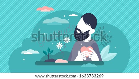 Gratitude concept, flat tiny person vector illustration.Human holding heart and being in loving mind state.Thoughts about life blessings, inner spiritual growth, abundance of love and soulful purpose. Foto stock ©
