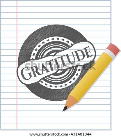 Gratitude emblem drawn in pencil