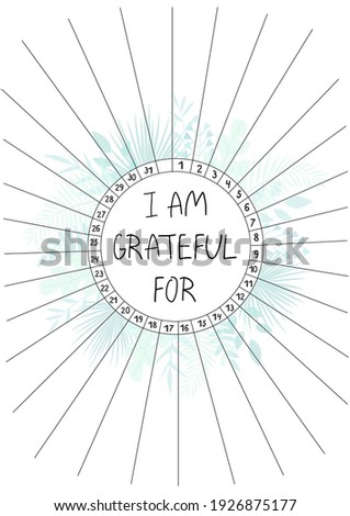 Gratitude log, printable A4 paper sheet with blank lines to fill and tropical leaves. Minimalist planner of grateful for journal page, tracker, daily planner template, blank for notebook. Сток-фото ©