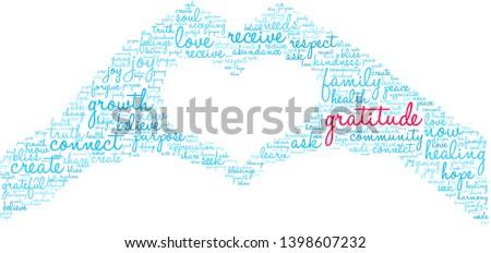 Gratitude word cloud on a white background.  Stockfoto ©