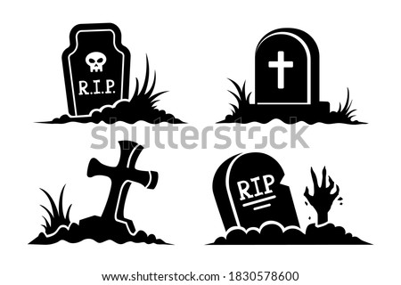 Grave. Graveyard elements icons. Halloween stickers. Black silhouettes and icons of graves in vector set. Gravestones of different shapes and cross isolated on white background. Stockfoto ©