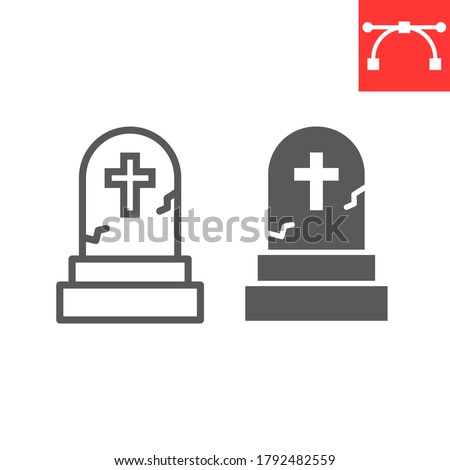 Gravestone line and glyph icon, halloween and scary, tombstone sign vector graphics, editable stroke linear icon, eps 10 ストックフォト ©