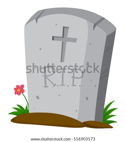 Gravestone on the ground illustration