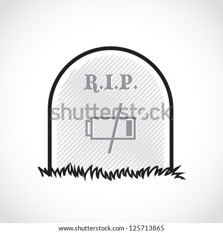 Gravestone, rest in peace, dead battery - illustration