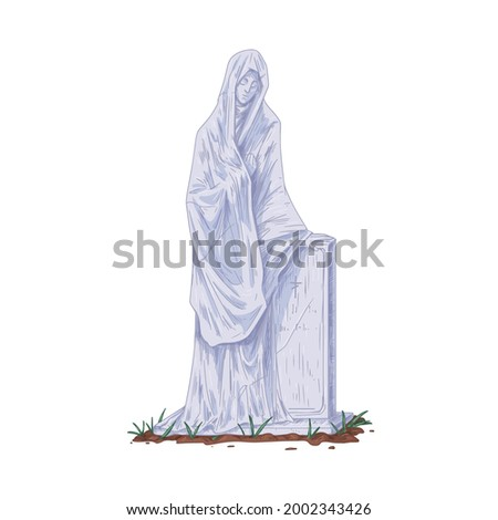 gravestone with sculpture of
