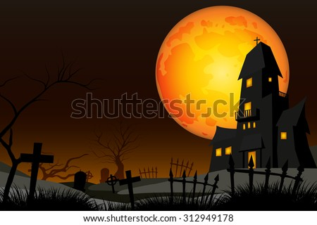 graveyard and fullmoon vector