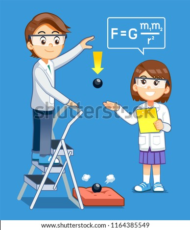 Gravity Science experiment kids class. Basic physics rules test.