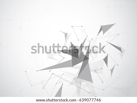 Gray Abstract polygonal space low poly background with connecting dots and lines. Connection structure. Vector Illustration #639077746