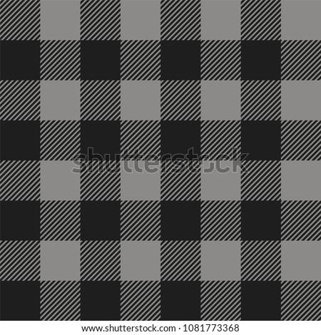 Gray and Black Buffalo Check Plaid Seamless Pattern - Classic style gray and black buffalo check flannel plaid seamless pattern