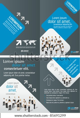 Gray and Blue template for advertising brochure with business people