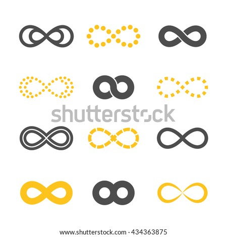 Gray and golden infinity symbols icon silhouettes set. Different forms. Isolated on a white background. Vector illustration.