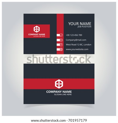 Gray and Red Business Card template
