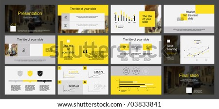 Gray and Yellow elements on a white background. This template is the best as a business presentation, corporate report, used in marketing and advertising, the annual report, flyer and banner