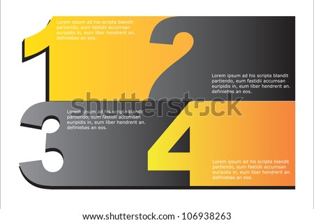 Gray and yellow numbers background, Vector illustration