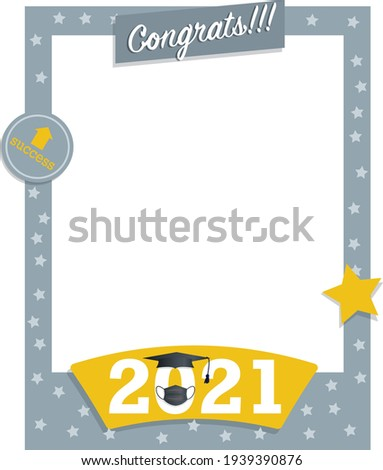 Gray and yellow photo frame poster with stars graduation celebration with graduation cap and gown for graduating students