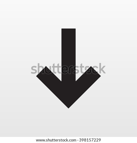 Gray Arrow icon isolated on background. Modern simple flat down next sign. Business, internet concept. Trendy vector downgrade symbol for website design, web button, mobile app. Logo illustration