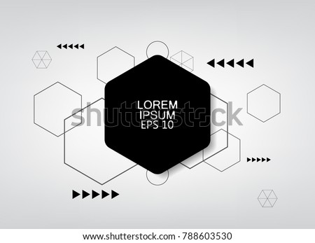 gray background hexagon logo banner template.