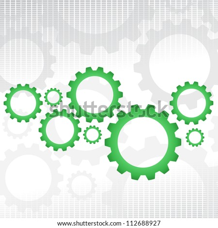 Gray background with some green gears