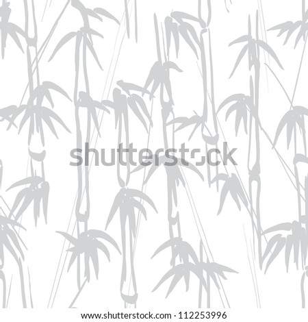 Gray bamboo seamless on white background. Drawing illustration