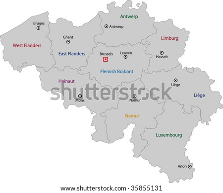 Gray Belgium map with provinces and main cities