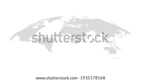Gray blank vector map of the world isolated on white background. Flat Earth, Globe worldmap icon.