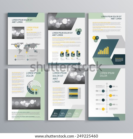 Gray brochure template design with blue and green geometric shapes. Cover layout and infographics