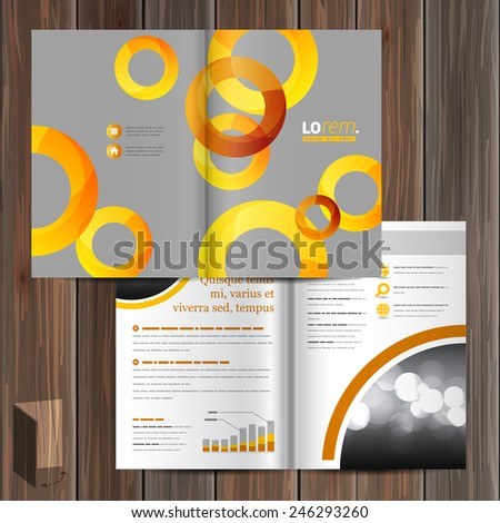 Gray brochure template design with yellow and orange round elements. Cover layout