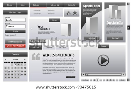 Gray Business Web Design Elements Version Grayscale 2: Menu, Navigation Bar, Slider, Banners, Video Player, Calendar, Tabs, Login Form, Scroller, Pagination