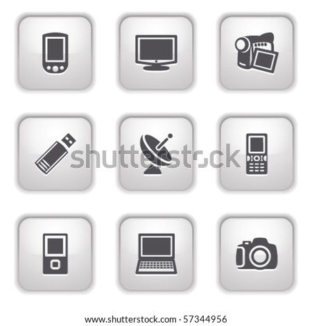 Gray button for internet 16 - stock vector