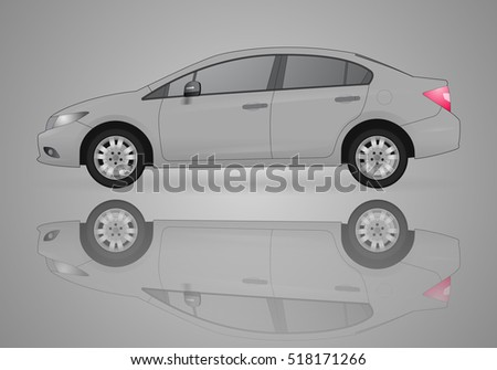 gray car and the reflection on