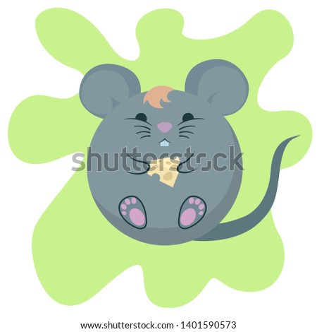 Gray cartoon rat with cheese on a green background. Glutton. The symbol of 2020.