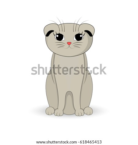 gray cat sitting up cartoon