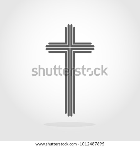 Gray Christian cross icon in flat design. Vector illustration. Abstract linear christian cross.