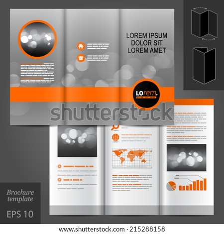 Gray classic vector brochure template design with round element