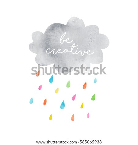 gray cloud with color drops