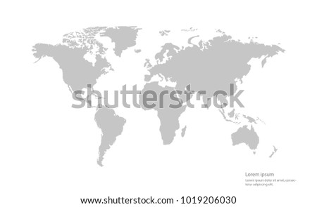 gray color vector world map on white background.