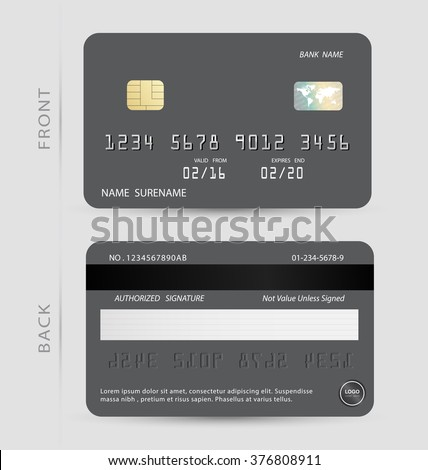 Gray credit debit card design template vector. To adapt idea for commercial business advertising information financial. illustration.