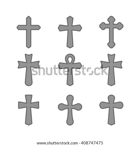 Gray crosses silhouette icons set. Different forms. Isolated on a white background. Vector illustration.