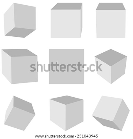 Gray cubes on a white background in different planes #231043945