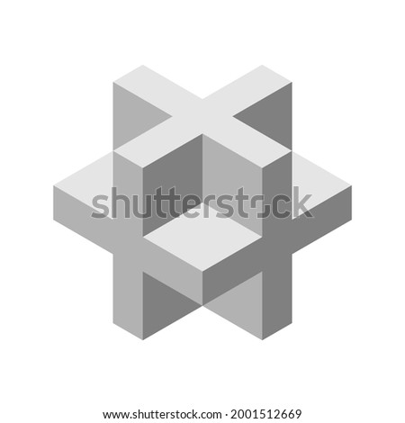 Gray 3D cross or plus sign. Dimensional letter X. Isometric cube shape made of crosses. Necker cube figure. Abstract geometric object. Sacred geometry. Logo design. Vector illustration, clip art. Photo stock ©