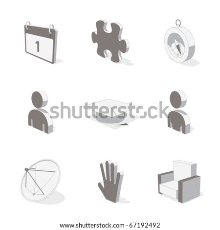gray 3d icon set 05