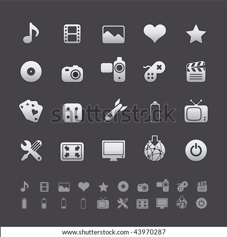 Gray Deluxe Icon Sets - Multimedia and Entertainment Buttons in Adobe Illustrator EPS 8. For multiple applications. See more in my portfolio...