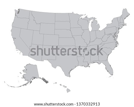 Gray Federal States Map of the United States of America