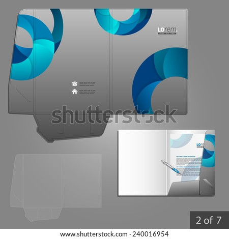 Gray folder template design for company with blue circles. Element of stationery.