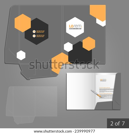 Gray folder template design for company with geometric shapes. Element of stationery.