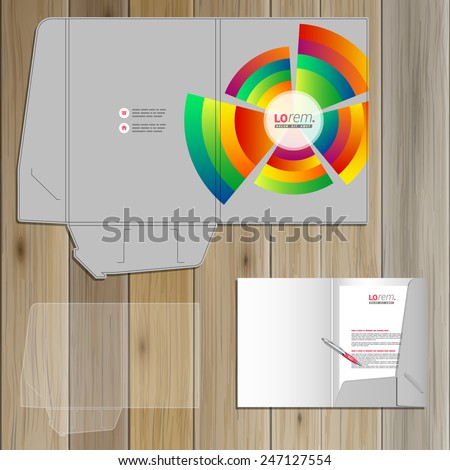 Gray folder template design for corporate identity with color round elements. Stationery set