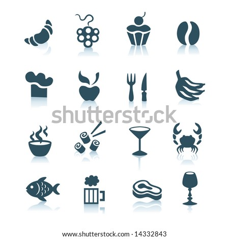 Gray food icons with shadows, part 2