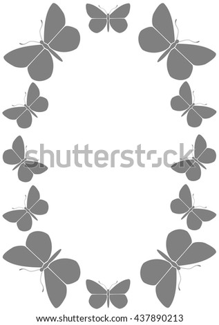 gray frame with butterflies