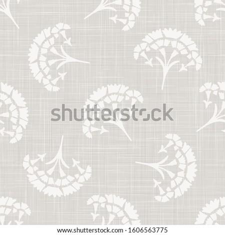 Gray french linen texture background printed with white carnation motif. Natural ecru antique medallion seamless pattern. Organic woven leaf foulard paisley wallpaper, vintage homespun textile decor. Photo stock ©