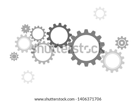 Gray gear wheels with vector abstract background